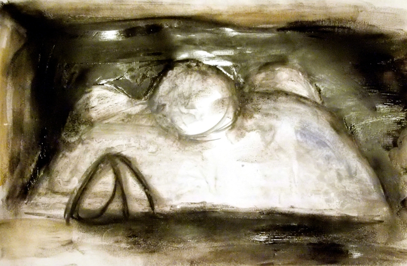 Roughly approximating the form of the installation. A dome environment that is bold and artificial in appearance.(Charcoal and watercolour drawing.)