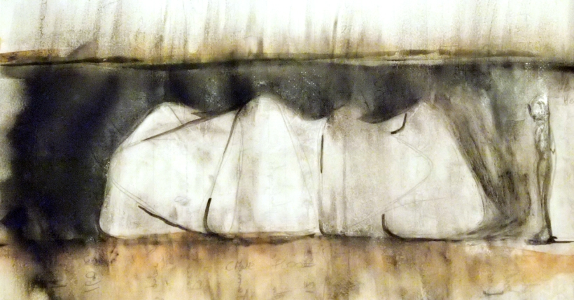 Sketch appropriating the form of pop-up tents to create a tunnel or a similar artificial space. (Charcoal, watercolour, and vaseline)