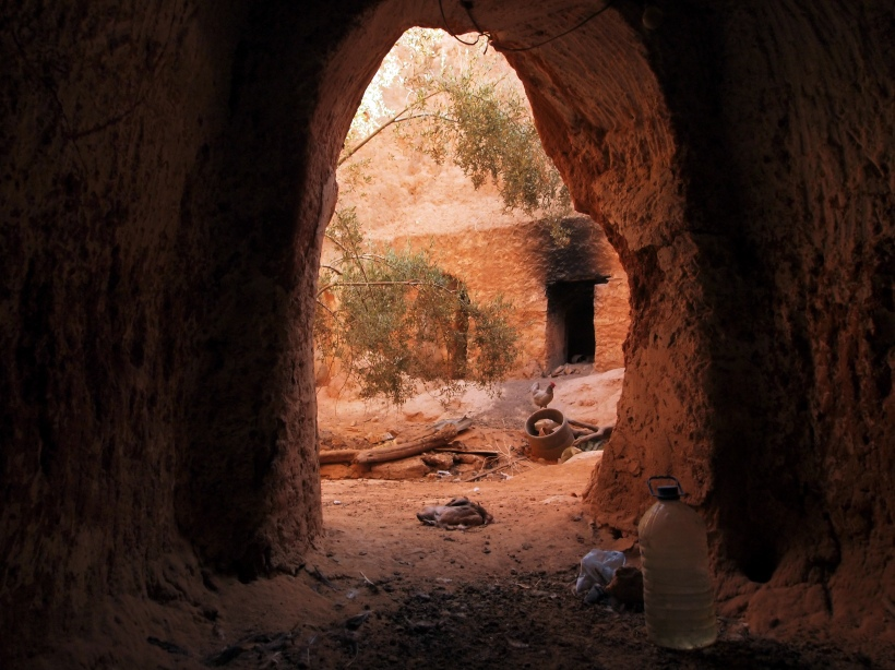 Cave Homes in the Gharyan Mountains that have been converted into a Shed and Chicken Hutch